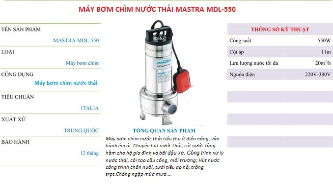 Máy bơm chìm nước thải Mastra MDL-550